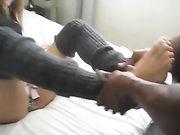 Nymphomane petite amie rend le sexe avec un ami noir