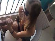 Sexe anal sur le balcon avec une amie allemande